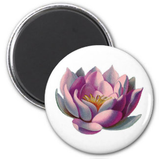 Pink Lotus Blossom 2 Inch Round Magnet