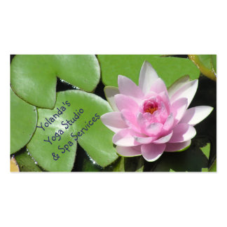 Pink Lotus Blossom and Green LilyPads,Customizable Business Card Template