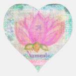 Pink Lotus Blossom Namaste yoga Heart Sticker
