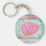 Pink Lotus Blossom Namaste yoga Keychains