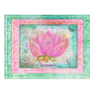 Pink Lotus Blossom Namaste yoga Postcard