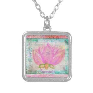 Pink Lotus Blossom Namaste yoga Square Pendant Necklace