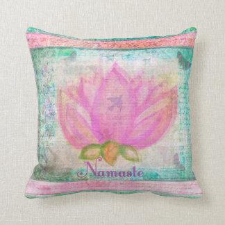 Pink Lotus Blossom Namaste yoga Throw Pillow