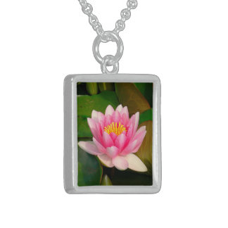 PINK LOTUS BLOSSOM (PHOTOG.) SQUARE PENDANT NECKLACE