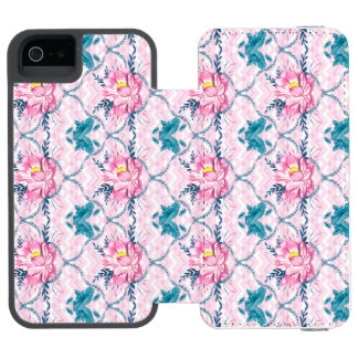 Pink Lotus Blossoms Teal Otter Box iPhone SE/5/5s Wallet Case