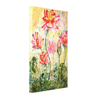 Pink Lotus Floral Watercolor Print Canvas 18x24