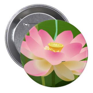 Pink Lotus Flower 3 Inch Round Button