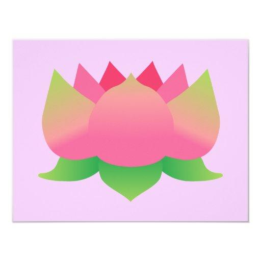 Pink Lotus Flower 4.25x5.5 Paper Invitation Card