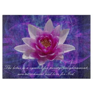 Pink lotus flower and meaning cutting board