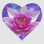 Pink lotus flower and meaning heart sticker