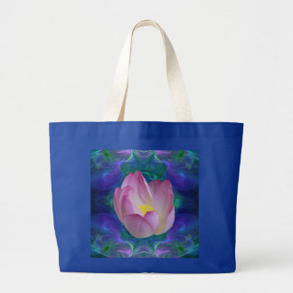 Pink lotus flower and meaning large tote bag