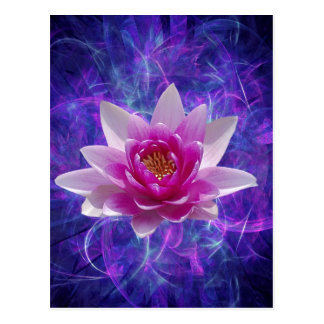 Pink lotus flower and meaning postcard