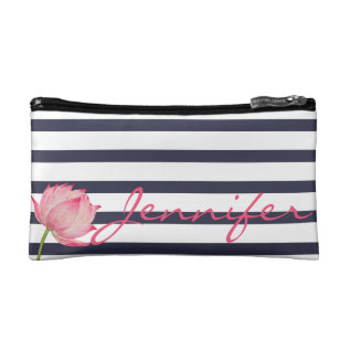 Pink Lotus Flower And Navy Stripes Cosmetic Bag at Zazzle