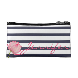 Pink Lotus Flower and Navy Stripes Cosmetic Bag