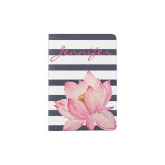 Pink Lotus Flower and Navy Stripes Passport Holder