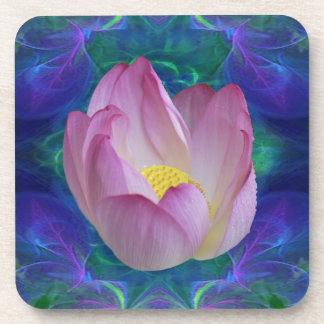 Pink lotus flower beverage coaster