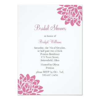 Pink Lotus Flower Bridal Shower (white) 5x7 Paper Invitation Card