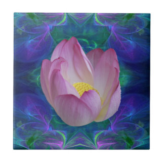 Pink lotus flower ceramic tile