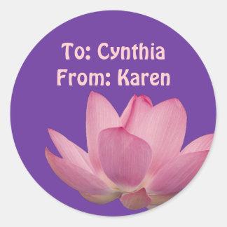 Pink Lotus Flower Classic Round Sticker