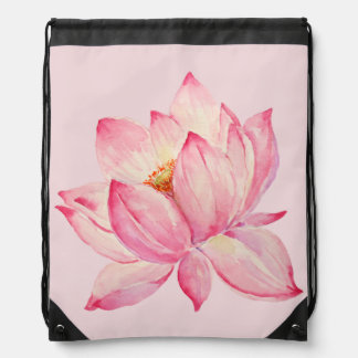 Pink Lotus Flower Drawstring Bag