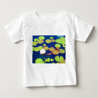 Pink Lotus Flower floating with lily pads on pond Baby T-Shirt