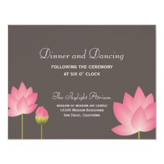 Pink lotus flower gray wedding reception enclosure 4.25x5.5 paper invitation card