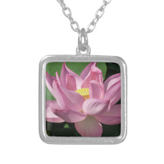 Pink Lotus Flower IV Silver Plated Necklace