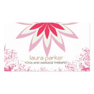 Pink Lotus Flower Logo Yoga Healing Health Business Card