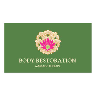 Pink Lotus Flower Massage Therapist Natural Health Business Card