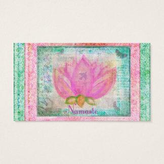 Pink Lotus Flower Namaste Business Card