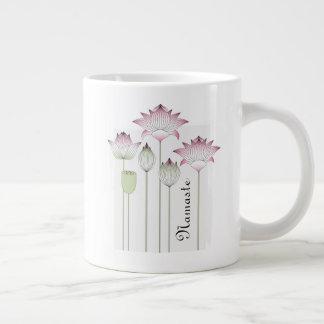 Pink Lotus Flower Namaste Elegant Modern Name Giant Coffee Mug