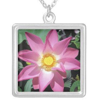 Pink lotus flower necklace