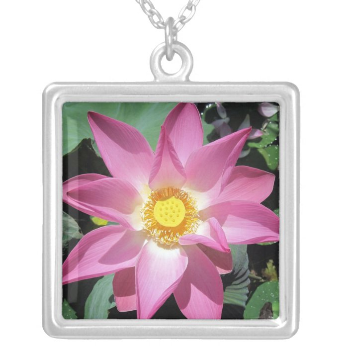 Pink lotus flower necklace