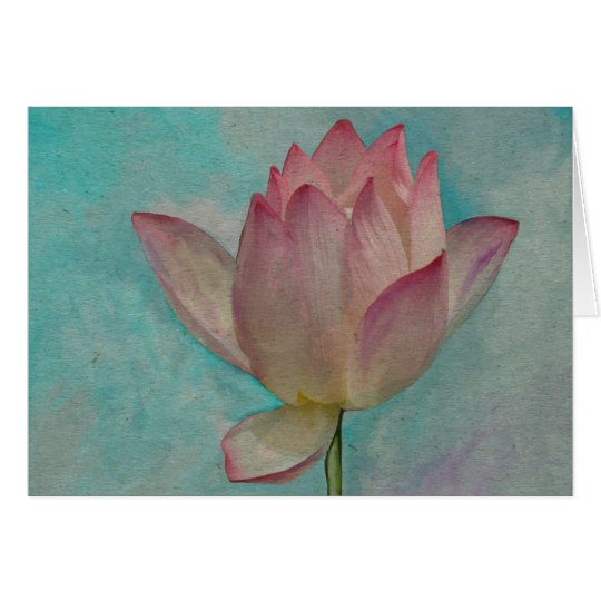 Pink Lotus Flower on Turquoise Blue Watercolor Art Card