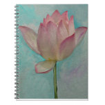 Pink Lotus Flower on Turquoise Blue Watercolor Art Spiral Notebook