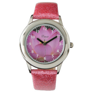 Pink lotus flower Peace design Wrist Watch