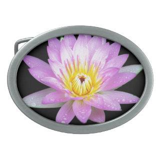 Pink Lotus Flower Pewter Belt Buckle