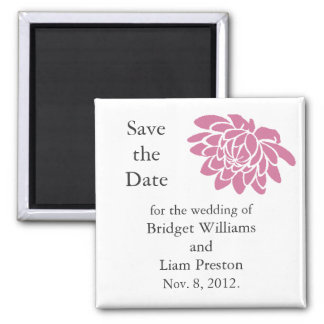 Pink Lotus Flower Save the Date Magnet (white)