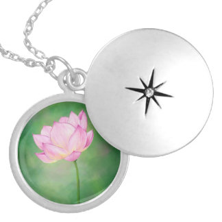 Pink Lotus Flower, silver plate necklace