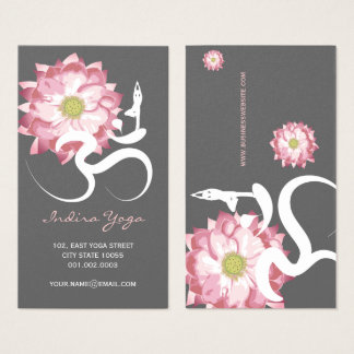 Pink Lotus Flower Spiritual Yoga Om Logo Symbol Business Card