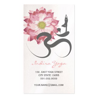Pink Lotus Flower Spiritual Yoga Om Logo Symbol Double-Sided Standard Business Cards (Pack Of 100)