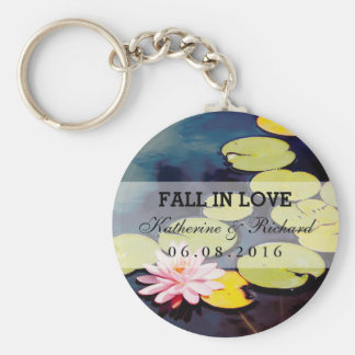 Pink Lotus Flower Wedding Favors Gift Keychain