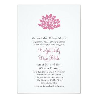 Pink Lotus Flower Wedding invitation (white)