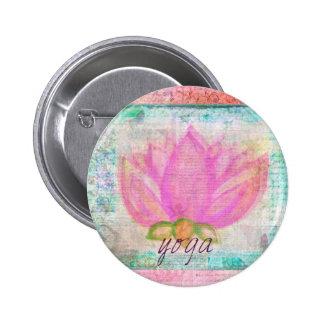 Pink Lotus Flower yoga Button