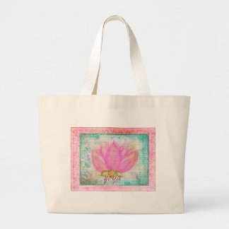 Pink Lotus Flower yoga Canvas Bags