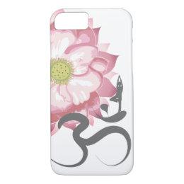 Pink Lotus Flower Yoga Indian Spiritual Om Symbol iPhone 8/7 Case