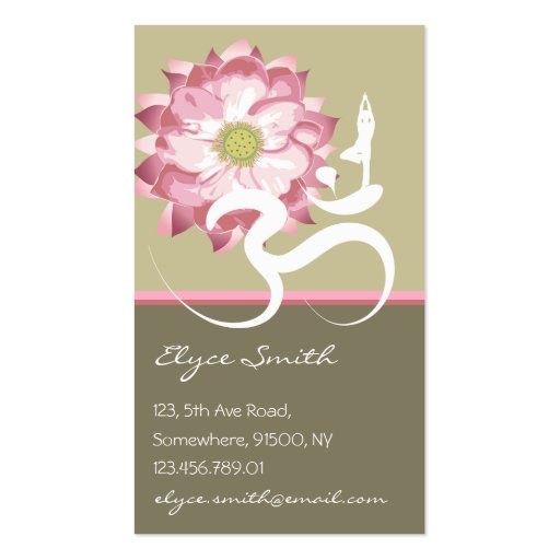 Yoga pilates business card templates standard size bizcardstudio pink lotus flower yoga om zen asian profile card business card template stopboris Image collections