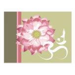 Pink Lotus Flower Yoga White Om Symbol Zen Post Card