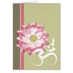 Pink Lotus Flower Yoga White Om Symbol Zen Stationery Note Card