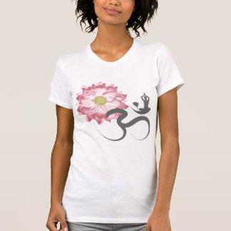 Pink Lotus Flower Yoga White Om Symbol Zen T-shirt